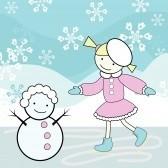 6178499-jeune-fille-patinage-et-bonhomme-de-neige